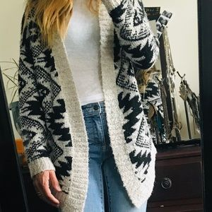 Cream and black Aztec print sweater